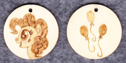 Size: 1014x507 | Tagged: safe, artist:malte279, pinkie pie, craft, cutie mark, jewelry, pendant, pyrography, traditional art, wood