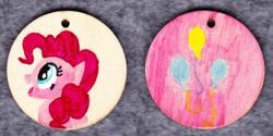 Size: 1014x507 | Tagged: safe, artist:malte279, pinkie pie, craft, cutie mark, jewelry, pendant, traditional art, wood