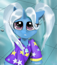 Size: 2455x2755 | Tagged: safe, artist:chopsticks, boulder (pet), trixie, pony, unicorn, alternate hairstyle, babysitter trixie, cheek fluff, chest fluff, clothes, crossing the memes, cute, diatrixes, female, gameloft, gameloft interpretation, high res, hoodie, looking up, meme, pigtails, raised hoof, sailor moon, sailor moon redraw meme, serena tsukino, solo, tsukino usagi, twintails