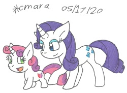 Size: 1080x789 | Tagged: safe, artist:cmara, rarity, sweetie belle, pony, unicorn, cute, diasweetes, female, filly, mare, raribetes, siblings, sisters, traditional art