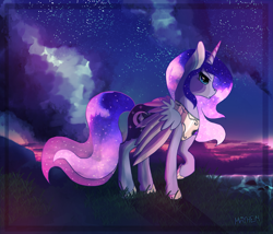 Size: 2645x2267 | Tagged: safe, artist:sweet-mayhem, oc, oc only, oc:amouria, alicorn, alicorn oc, ethereal mane, galaxy mane, horn, jewelry, magical lesbian spawn, night, night sky, not luna, offspring, parent:princess luna, parent:twilight sparkle, parents:twiluna, regalia, sky, solo, wings