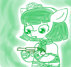 Size: 640x600 | Tagged: safe, artist:ficficponyfic, oc, oc:mulberry telltale, cyoa:madness in mournthread, bag, boot, cyoa, female, flower, gun, handgun, handkerchief, headband, mare, monochrome, mystery, part of a series, part of a set, pistol, shawl, simple background, story included, weapon, worried