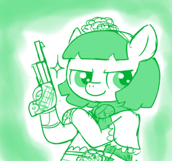 Size: 640x600 | Tagged: safe, artist:ficficponyfic, oc, oc:mulberry telltale, cyoa:madness in mournthread, bag, boot, confident, cyoa, female, flower, glint in eye, gun, handgun, handkerchief, headband, mare, monochrome, mystery, part of a series, part of a set, pistol, pose, shawl, simple background, smiling, story included, weapon