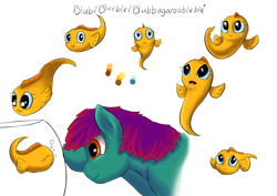 Size: 6960x4923   Tagged: safe, artist:firefly_sunset, artist:piiec, oc, oc:blurble, oc:fish, fish, adorable face, baby fish, bleh, blue eyes, cute, yellow