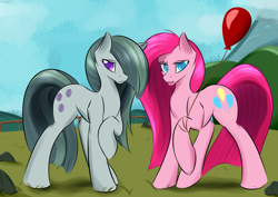 Size: 4025x2844 | Tagged: safe, artist:renarde-louve, marble pie, pinkie pie, earth pony, pony, female, mare, pie sisters, pinkamena diane pie, siblings, sisters, twins