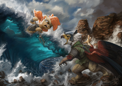 Size: 1440x1020 | Tagged: safe, artist:assasinmonkey, oc, oc only, griffon, seapony (g4), first contact war, armor, clothes, cloud, dramatic pose, fight, helmet, hoof hold, ocean, open mouth, trident, war, war face, water, wave, weapon