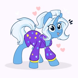 Size: 2000x2000 | Tagged: safe, artist:kebchach, trixie, pony, unicorn, alternate hairstyle, babysitter trixie, chest fluff, clothes, cute, diatrixes, female, gameloft, gameloft interpretation, heart, high res, jacket, looking at you, mare, open mouth, pigtails, ponytail, simple background, smiling, solo, twintails, white background