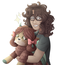 Size: 3500x3900 | Tagged: safe, artist:kikirdcz, yona, oc, human, yak, bow, cloven hooves, female, glasses, hair bow, human female, monkey swings, plushie, simple background, transparent background