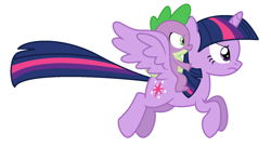 Size: 1576x856 | Tagged: safe, artist:wyattstonencc96230a, spike, twilight sparkle, alicorn, dragon, pony, dragons riding ponies, flying, riding, simple background, white background