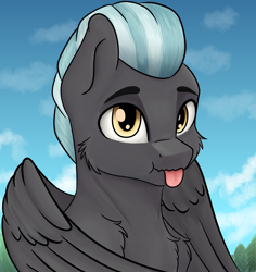 Size: 3500x3700 | Tagged: safe, artist:misty horyzon, thunderlane, pegasus, pony, :p, bust, cheek fluff, chest fluff, cloud, cute, folded wings, high res, looking at you, male, outdoors, portrait, sky, solo, stallion, thunderbetes, tongue out, wings