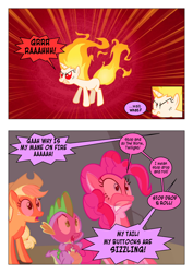 Size: 868x1228 | Tagged: safe, artist:dziadek1990, edit, edited screencap, screencap, applejack, pinkie pie, spike, twilight sparkle, feeling pinkie keen, angry, burning, cartoon physics, comic, conversation, dialogue, fire, furious, on fire, pain, rapidash twilight, reality ensues, scared, screaming, screencap comic, stop drop and roll, text