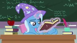Size: 1920x1080 | Tagged: safe, screencap, trixie, pony, unicorn, a horse shoe-in, apple, book, clothes, female, food, hat, magic, magic aura, mare, solo, telekinesis, trixie's hat