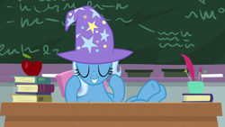 Size: 1920x1080 | Tagged: safe, screencap, trixie, pony, a horse shoe-in, apple, clothes, eyes closed, female, food, hat, hooves on the table, mare, solo, trixie's hat