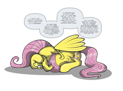 Size: 1567x1157 | Tagged: safe, artist:perfectblue97, fluttershy, pegasus, pony, conspiracy theory, covering eyes, crying, eyes closed, fake news, female, floppy ears, mare, prone, simple background, solo, speech bubble, spread wings, white background, wings