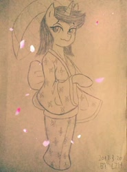 Size: 1080x1461 | Tagged: safe, artist:lzh, oc, oc only, pony, unicorn, clothes, female, kimono (clothing), looking at you, paper, petal, solo, standing pony, traditional art, umbrella