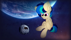 Size: 1920x1080 | Tagged: safe, artist:parabellumpony, oc, oc:apogee, pegasus, pony, chest fluff, detailed background, ear fluff, floating in space, pegasus oc, personality core, portal (valve), portal 2, space, space core, stars, the cosmos, wallpaper, wings