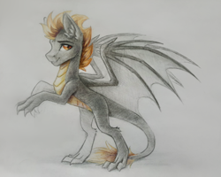 Size: 3786x3024 | Tagged: safe, artist:dark lightning, oc, oc only, dracony, dragon, hybrid, pony, leonine tail, male, photo, rearing, simple background, traditional art