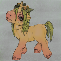 Size: 1240x1240 | Tagged: safe, artist:oops, oc, oc:unknown, unicorn, dandelion, g3, lips, messy mane, sad, solo, vent art