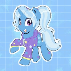 Size: 2000x2000 | Tagged: safe, alternate version, artist:partylikeanartist, trixie, pony, unicorn, abstract background, absurd resolution, alternate design, alternate hairstyle, babysitter trixie, clothes, cute, diatrixes, female, hoodie, ios, looking at you, mare, ponytail, solo, wingding eyes