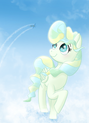 Size: 1749x2421 | Tagged: safe, artist:tetsunoshin, vapor trail, pegasus, pony, cloud, female, mare, sky
