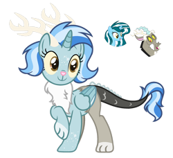 Size: 1024x932 | Tagged: safe, artist:sapphiretwinkle, discord, oc, oc:sapphire twinkle, hybrid, pony, unicorn, clothes, female, interspecies offspring, offspring, parent:discord, parent:oc:sapphire twinkle, parents:canon x oc, scarf