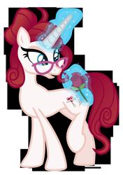 Size: 1600x2275   Tagged: safe, artist:aeonkrow, oc, oc:dahlia, pony, unicorn, female, flower, glasses, magic, mare, rose, simple background, solo, transparent background