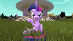 Size: 1280x720 | Tagged: safe, artist:mrm, twilight sparkle, alicorn, 3d, :p, cute, female, grass, looking at you, mare, ponyville, sitting, source filmmaker, tongue out, twiabetes, twilight sparkle (alicorn)