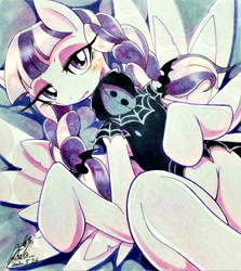 Size: 1826x2048 | Tagged: safe, artist:025aki, inky rose, pegasus, pony, blushing, female, looking at you, mare, on back, solo, traditional art