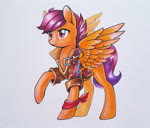 Size: 1500x1277 | Tagged: safe, artist:maytee, scootaloo, pegasus, pony, bandana, clothes, jacket, marker drawing, older, older scootaloo, scarf, simple background, solo, spread wings, traditional art, white background, wings