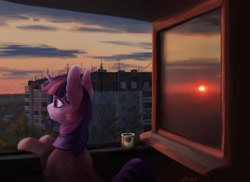 Size: 2048x1490 | Tagged: safe, artist:danton-y17, twilight sparkle, pony, unicorn, antenna, balcony, cloud, coffee, coffee mug, ear fluff, female, highrise building, mare, mug, russia, solo, sunset, tree, unicorn twilight, window, wires