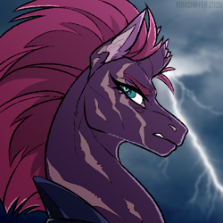 Size: 500x500 | Tagged: safe, artist:dementra369, tempest shadow, pony, unicorn, armor, broken horn, cloud, eye scar, female, horn, lightning, mare, scar, solo