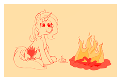 Size: 2326x1552 | Tagged: safe, artist:thewindking, oc, oc only, oc:cinderheart, pony, snake, unicorn, campfire, cutie mark, female, fire, horn, mare, simple background, sitting, sketch, smiling, unicorn oc