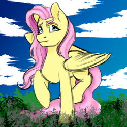 Size: 2000x2000   Tagged: safe, artist:artsgremlin, fluttershy, pegasus, pony, female, looking at you, mare, outdoors, raised hoof, raised leg, sky, solo, spread wings, standing, stray strand, three quarter view, wings