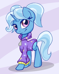 Size: 2402x3005 | Tagged: safe, artist:itchystomach, trixie, pony, unicorn, babysitter trixie, bandwagon, clothes, cute, diatrixes, gameloft, gameloft interpretation, high res, hoodie, looking at you, meme, solo