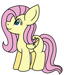 Size: 1200x1414 | Tagged: safe, artist:iambrillancetheppg, fluttershy, pegasus, pony, colored, female, flat colors, folded wings, looking away, looking up, mare, missing cutie mark, simple background, smiling, solo, standing, transparent background, wings