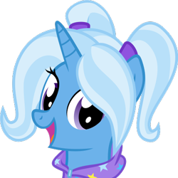 Size: 500x500 | Tagged: safe, artist:the smiling pony, trixie, pony, unicorn, derpibooru, .svg available, babysitter trixie, clothes, derpibooru badge, female, gameloft, gameloft interpretation, hoodie, meta, pigtails, smiling, solo, svg, vector