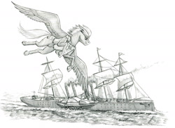Size: 1400x1033 | Tagged: safe, artist:baron engel, oc, oc:sky brush, pegasus, pony, flying, male, monochrome, pencil drawing, ship, stallion, story included, traditional art