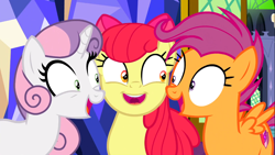 Size: 1366x768 | Tagged: safe, screencap, apple bloom, scootaloo, sweetie belle, earth pony, pegasus, pony, unicorn, growing up is hard to do, cutie mark crusaders, female, looking at each other, mare, older, older apple bloom, older cmc, older scootaloo, older sweetie belle, smiling