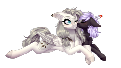 Size: 1788x1012 | Tagged: safe, artist:ohhoneybee, oc, oc only, oc:cloudy night, oc:hunter dream, pegasus, pony, female, kissing, mare, prone, simple background, transparent background