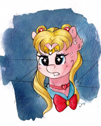 Size: 3062x3828 | Tagged: safe, artist:lightisanasshole, oc, earth pony, pony, bangs, bow, bust, clothes, concerned, ear piercing, earring, jewelry, meme, necklace, piercing, ponified, ponytail, sailor moon, sailor moon redraw meme, serena tsukino, solo, traditional art, uniform, watercolor painting