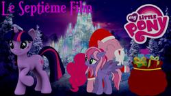 Size: 1920x1080 | Tagged: safe, artist:rose80149, pinkie pie, starsong, twilight sparkle, crystal snow castle, g4, present, sack, santa claus, winter, wonderland