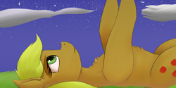 Size: 1600x800 | Tagged: safe, artist:guatergau5, applejack, earth pony, chest fluff, looking at each other, on back