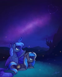 Size: 1638x2048 | Tagged: safe, artist:lollipony, princess luna, oc, oc:equui-nox, alicorn, firefly (insect), insect, pony, unicorn, castle, commission, constellation, duo, female, folded wings, glowing horn, heart, horn, looking up, magic, mare, mountain, night, open mouth, pointing, raised hoof, smiling, stars, wings