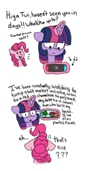 Size: 3024x6048 | Tagged: safe, artist:pink-pone, pinkie pie, twilight sparkle, alicorn, earth pony, pony, animal crossing, levitation, magic, nintendo switch, telekinesis