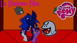 Size: 1280x720 | Tagged: safe, artist:rose80149, princess luna, rarity, twilight sparkle, alicorn, earth pony, ghost, undead, boo, dimension room, french