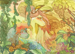 Size: 1183x858 | Tagged: safe, artist:penrosa, fluttershy, rainbow dash, pony, alternate hairstyle, bust, duo, female, flower, mare, outdoors, plant, three quarter view