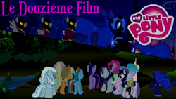 Size: 1920x1080 | Tagged: safe, artist:rose80149, applejack, fluttershy, nightmare moon, pinkie pie, princess celestia, princess luna, rainbow dash, rarity, surprise, twilight sparkle, oc, oc:blitz, oc:burst, oc:dasher, oc:snowdrop, castle of the royal pony sisters, everfree forest, french, royal guard, shadowbolts