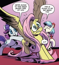 Size: 552x608 | Tagged: safe, artist:andypriceart, idw, coco pommel, fluttershy, rarity, earth pony, pegasus, unicorn, spoiler:comic64, comic panel, out of context