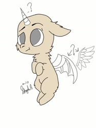 Size: 1080x1440 | Tagged: safe, artist:_wulfie, oc, oc only, alicorn, bat pony, bat pony alicorn, pony, bat wings, chest fluff, commission, confused, horn, question mark, signature, solo, wings, your character here