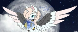 Size: 799x327 | Tagged: safe, artist:_wulfie, oc, oc only, alicorn, pony, alicorn oc, cropped, ear fluff, glowing hooves, hair over one eye, horn, moon, night, sfe, solo, spread wings, stars, wings